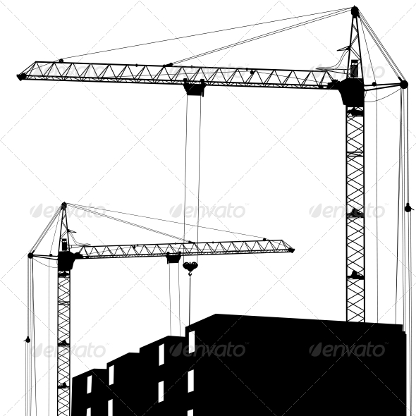 GraphicRiver Silhouette of Two Cranes Working on the Building 6642270