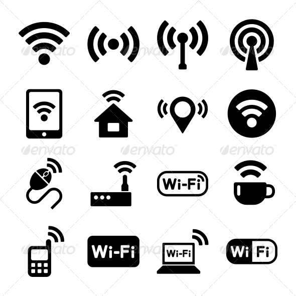GraphicRiver Wireless Technology Wi-Fi Web Icons Set 6642278