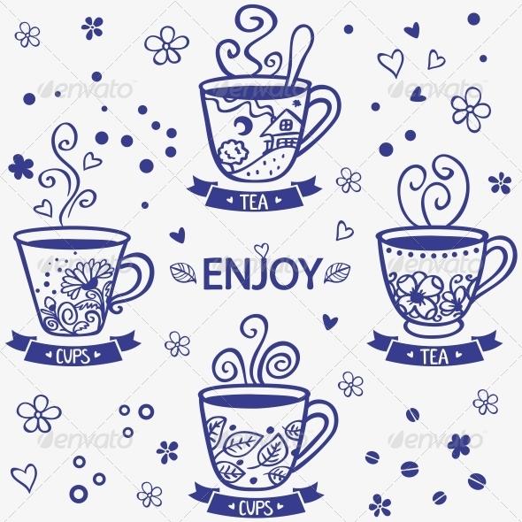 GraphicRiver Cups Silhouette 6642309