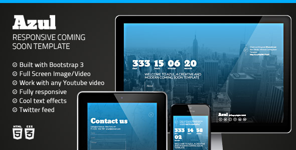 ThemeForest Azul Creative Coming Soon Template 6642371