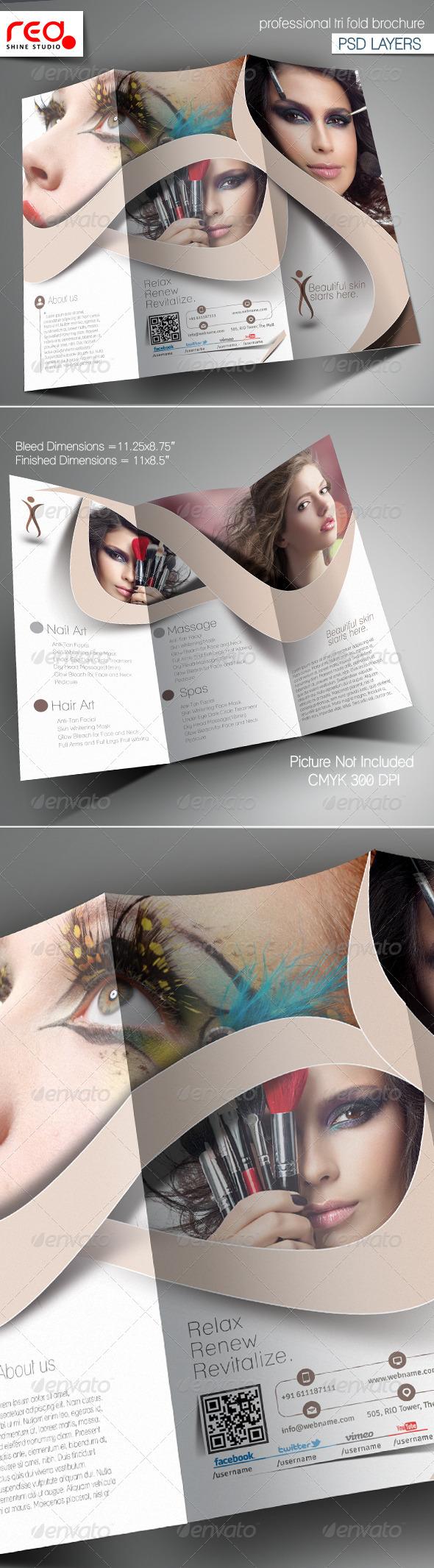 GraphicRiver Beauty Salon Trifold Brochure Template 6642411