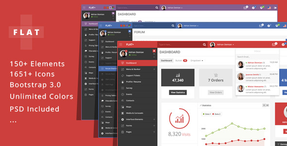 FLAT PLUS - Web App & Admin Panel Template