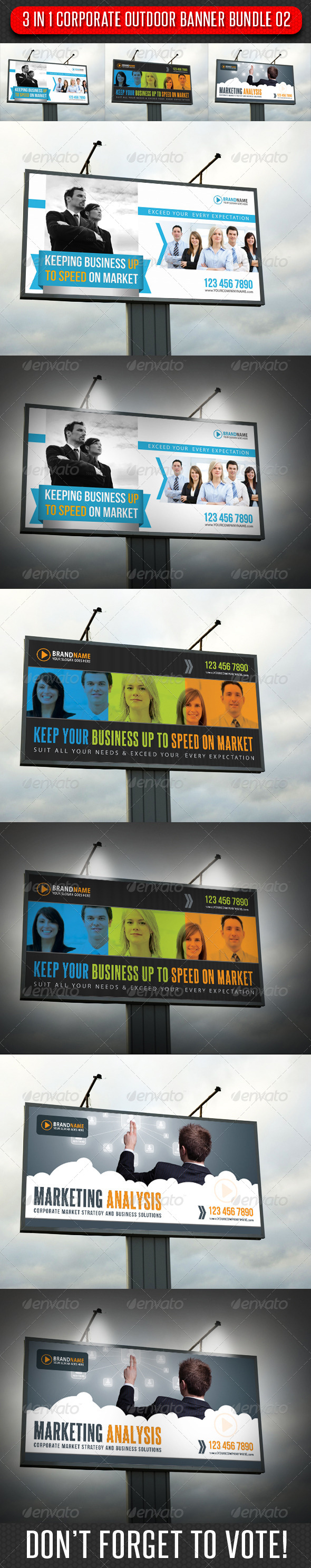 GraphicRiver 3 in 1 Corporate Outdoor Banner Bundle 02 6629348