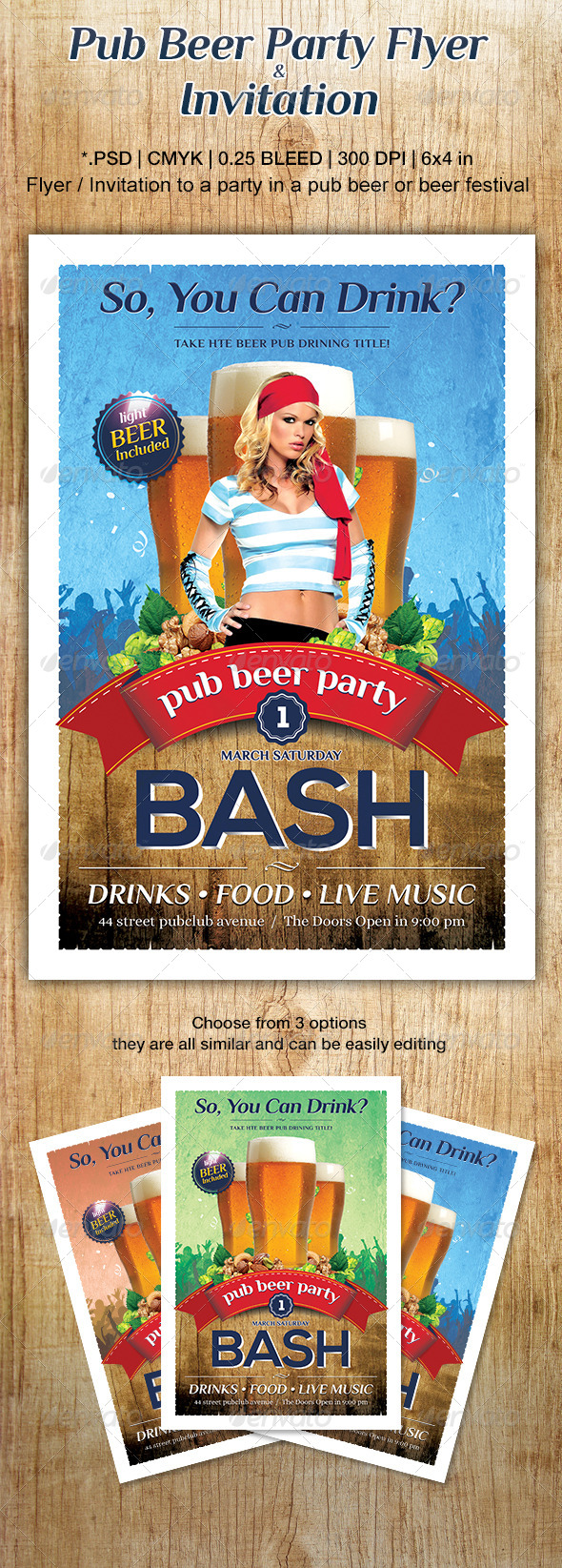 GraphicRiver Pub Beer Party Flyer or Invitation 6643141