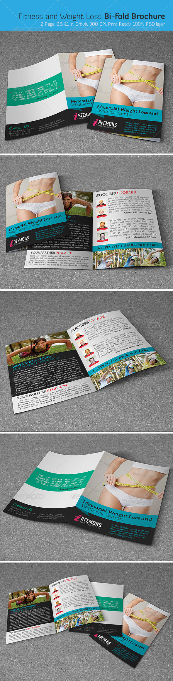 GraphicRiver Fitness and Weight Loss Bi-fold Brochure 6643204