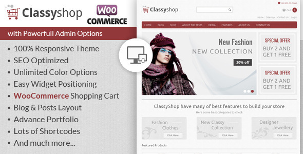 ThemeForest ClassyShop WooCommerce Responsive Theme 6643284