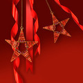 Christmas star ornaments against red background - PhotoDune Item for Sale