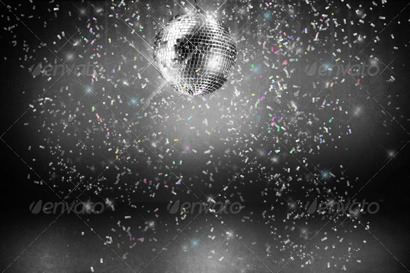 PhotoDune Disco ball with lights and confetti party background 696801