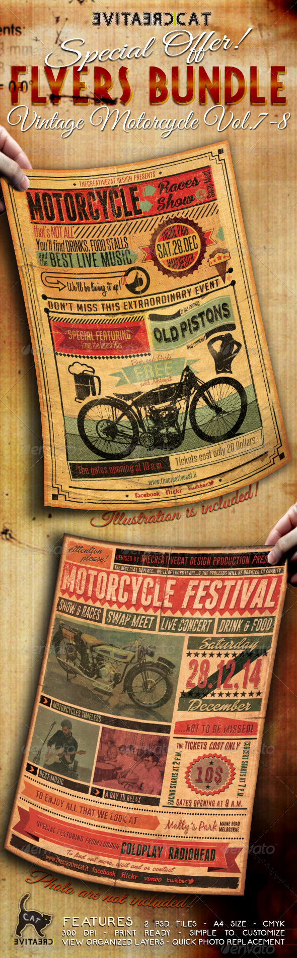 GraphicRiver Vintage Motorcycle Flyer Poster Bundle Vol 7-8 6643751