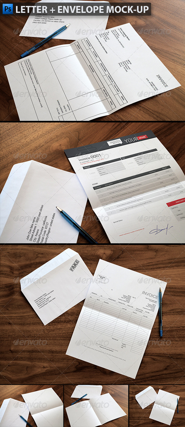 Letter & Envelope Mock-ups - Product Mock-Ups Graphics