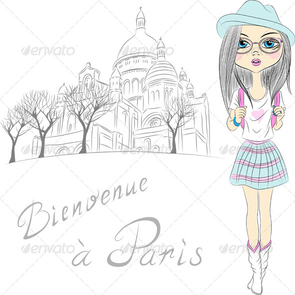 GraphicRiver Fashion Girl in Paris 6612338