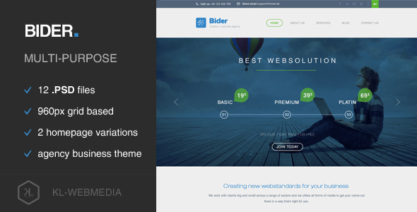 Bider - Corporate PSD Template - Business Corporate