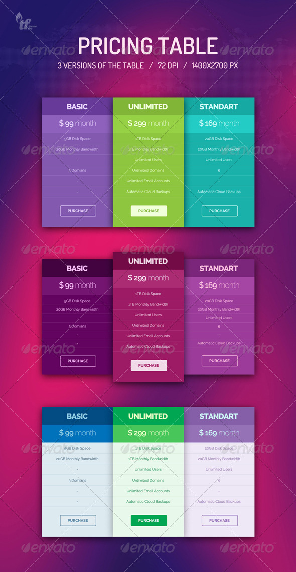 GraphicRiver Pricing Table 6644386