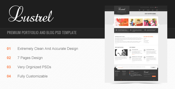 Lustrel - Premium Portfolio And Blog PSD Template