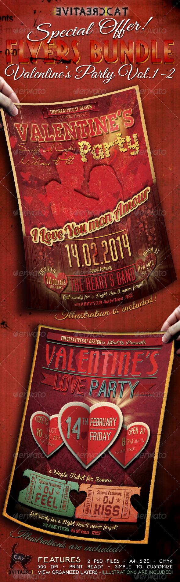 GraphicRiver Valentine s Party Flyer Poster Bundle Vol 1-2 6645065