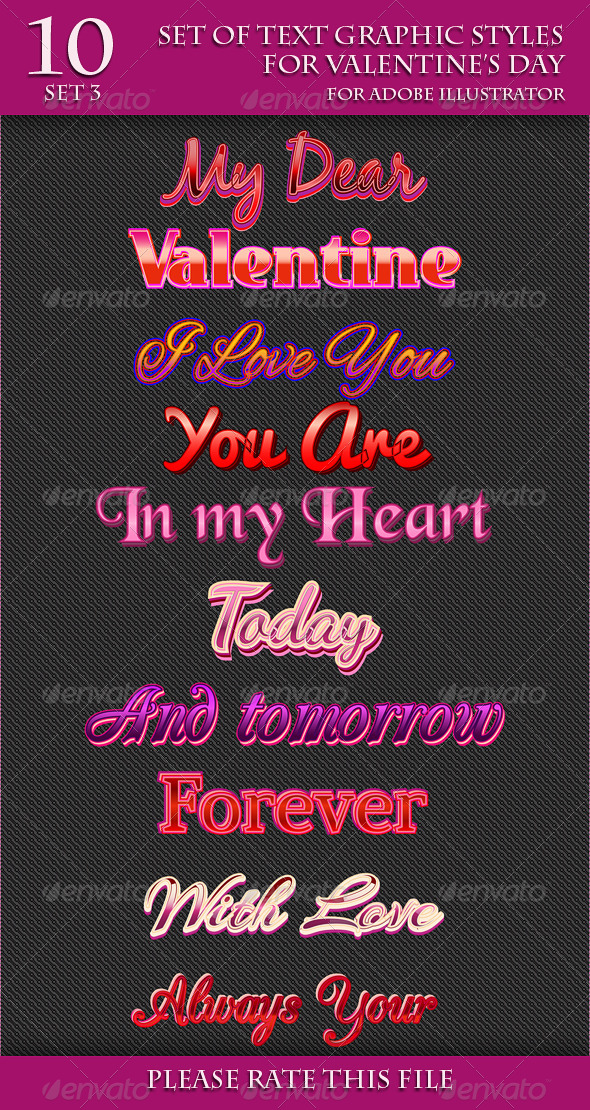 GraphicRiver Set of Text Graphic Styles for Valentine s Day 6645706