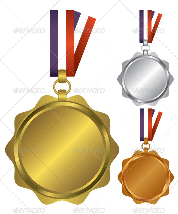 GraphicRiver Three Medals for the Winners Illustration 6646043
