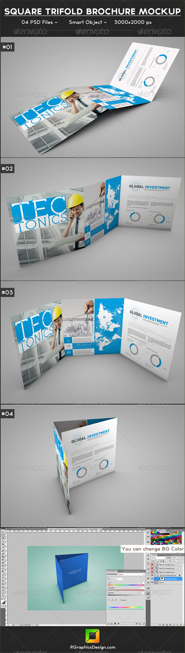 GraphicRiver Square Trifold Brochure Mockup 6646052