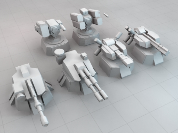 Low Poly Sci-Fi Turret Set