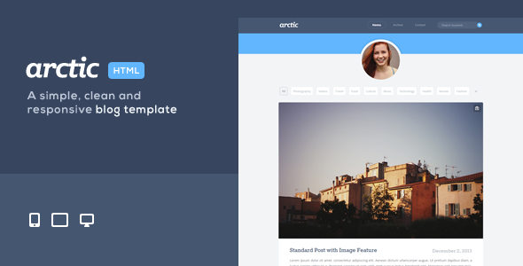 ThemeForest Arctic Responsive Personal Blog Theme 6621921