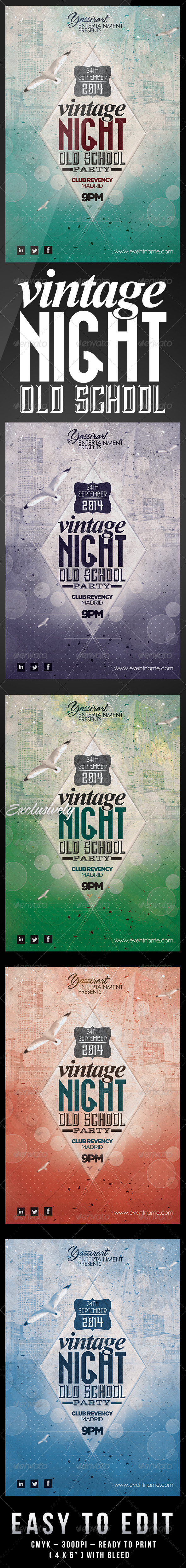 GraphicRiver Vintage Night Old School Party Flyer Template 6647575