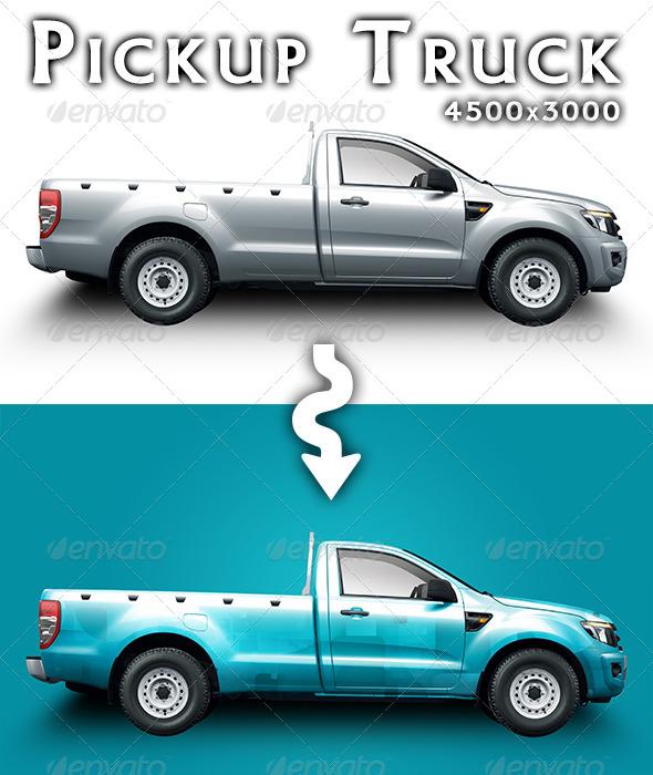 Pickup Truck Mock-up - Product Mock-Ups Graphics
