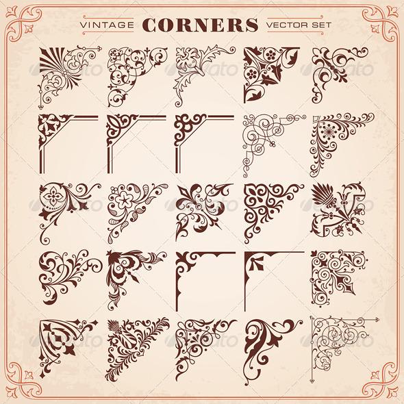 GraphicRiver Vintage Style Design Elements Corners 6647802