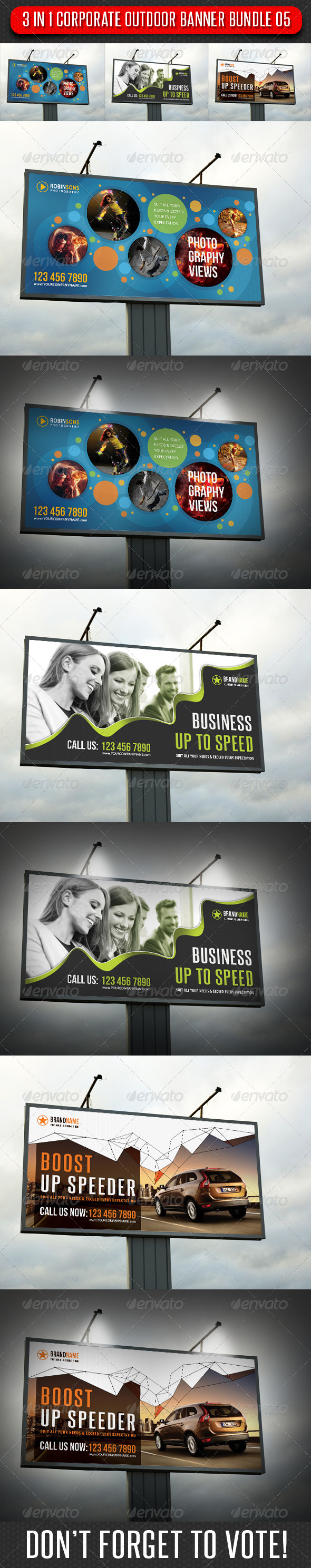GraphicRiver 3 in 1 Corporate Outdoor Banner Bundle 05 6647823