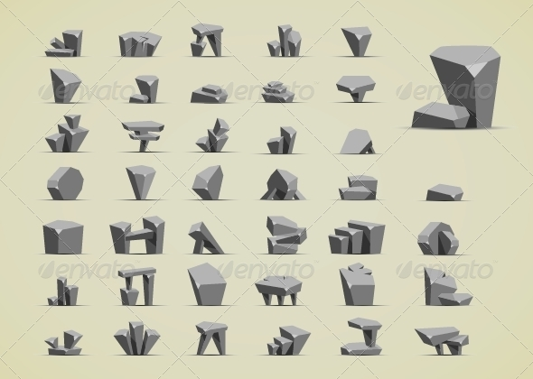 GraphicRiver Simple Cartoony Stones 6647839