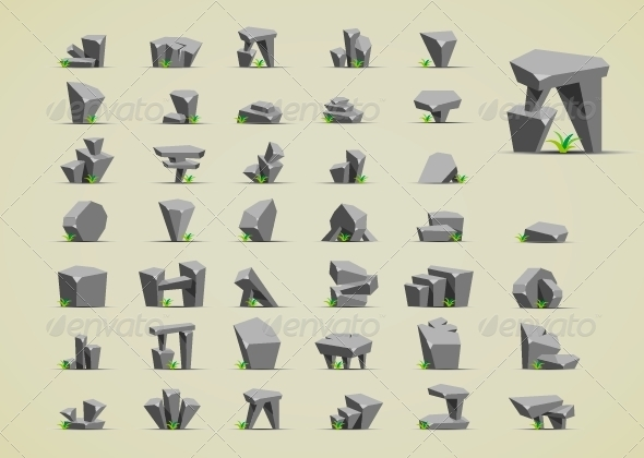 GraphicRiver Stones with Grass 6647884