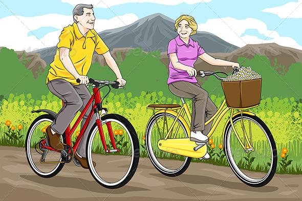 GraphicRiver Seniors Riding Bicycles 6648521