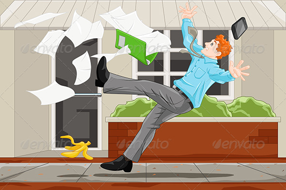 GraphicRiver Businessman Slipping on a Banana Skin 6648529