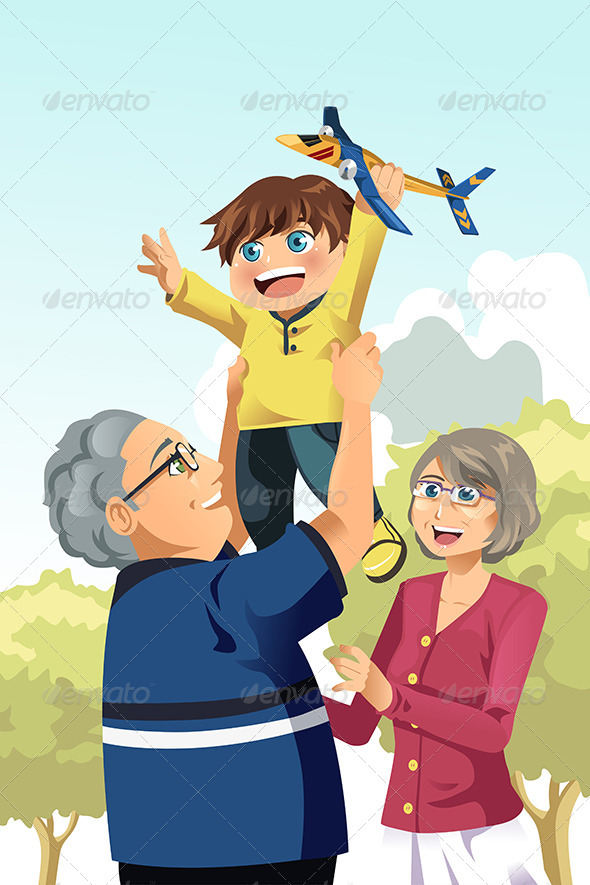 GraphicRiver Grandparents and Grandson Playing 6648641