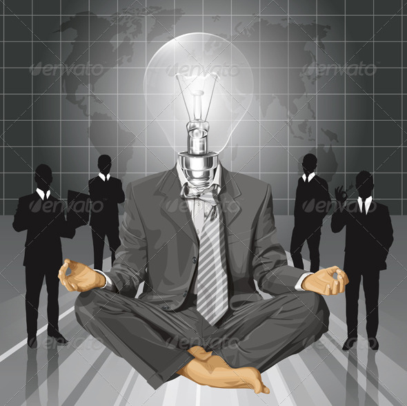 GraphicRiver Lamp Head Businessman in Lotus Pose Meditating 6643754