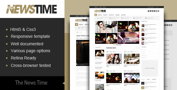 ThemeForest The News Time Magazine HTML5 Template 6649732
