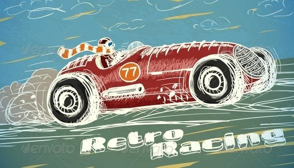 GraphicRiver Retro Racing Car Poster 6650064
