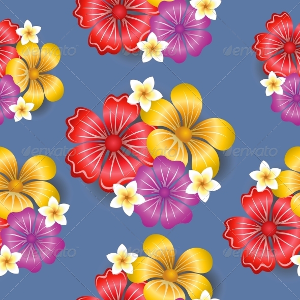 GraphicRiver Tropical Flowers Seamless Pattern Background 6650067