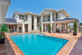 beautiful backyard with pool in australian mansion
