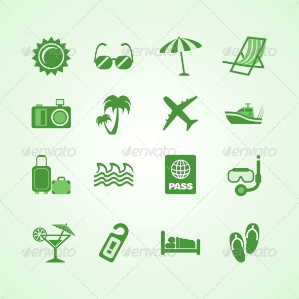 GraphicRiver Vacation Travel Green Icons Set 6650074