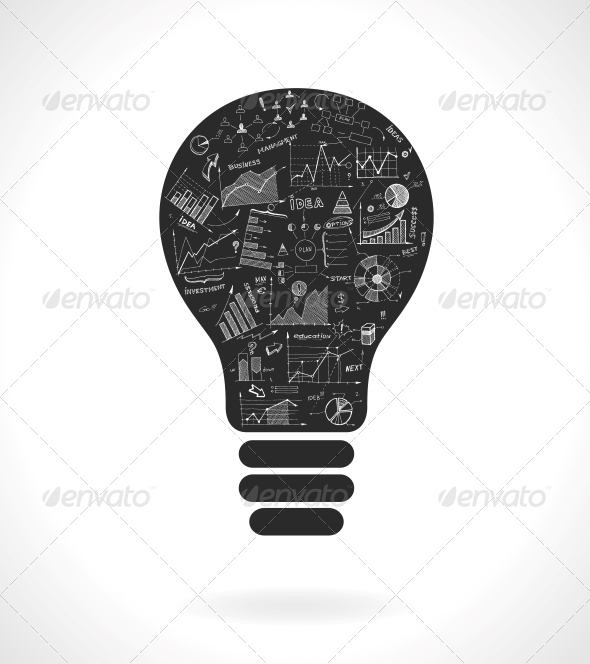 GraphicRiver Light Bulb with Infrographics 6650135