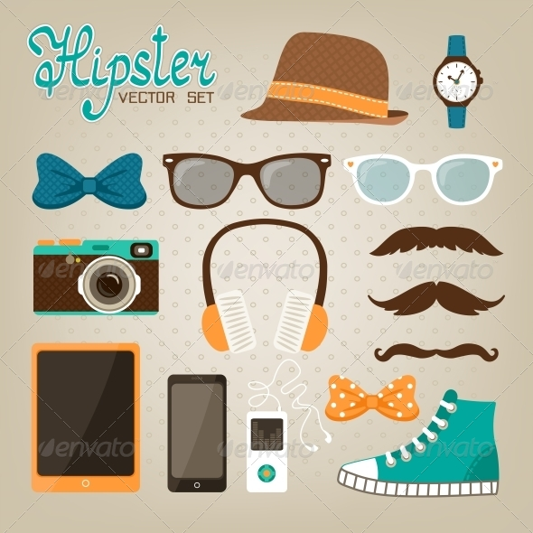 GraphicRiver Hipster Elements Icons Set 6650152