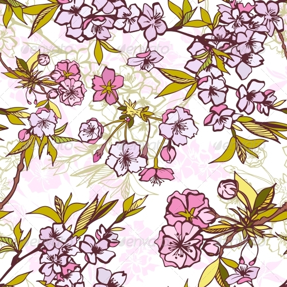 GraphicRiver Seamless Background Pattern with Blossoming Sakura 6650206