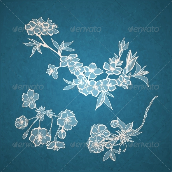 GraphicRiver Blossoming Cherry Decorative Elements 6650213