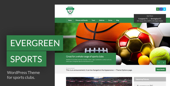 ThemeForest Evergreen Sports WP Theme for Sports Clubs 6610327