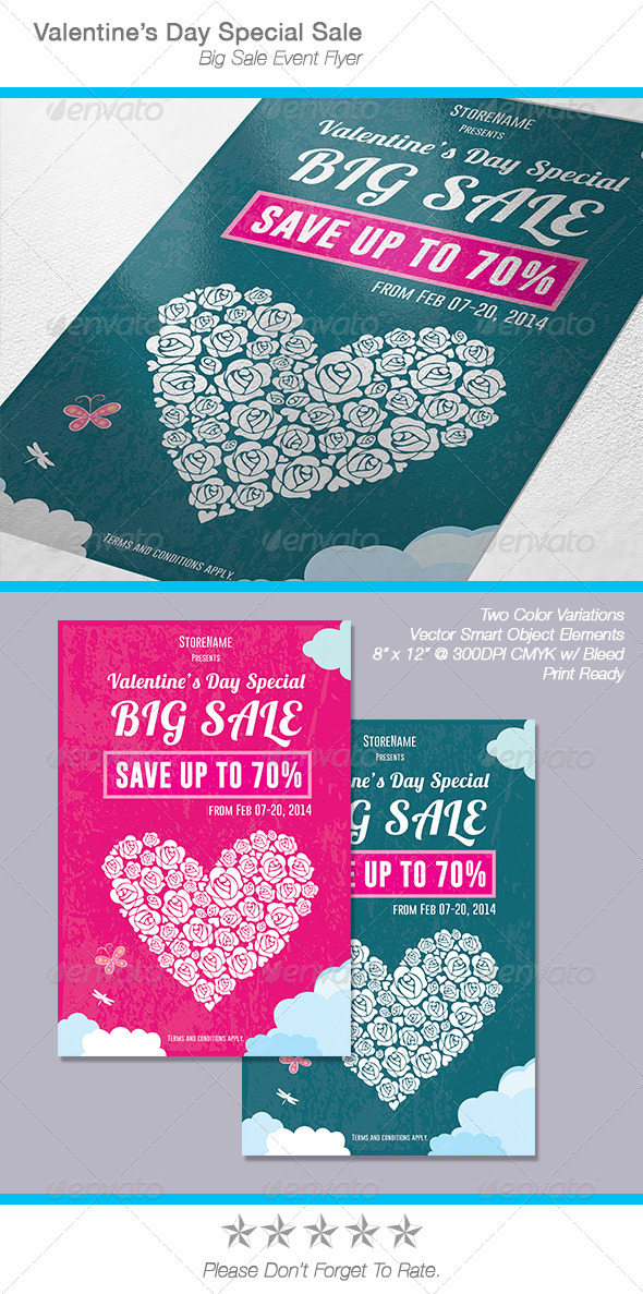GraphicRiver Valentine s Day Sale Flyer Poster 6650559