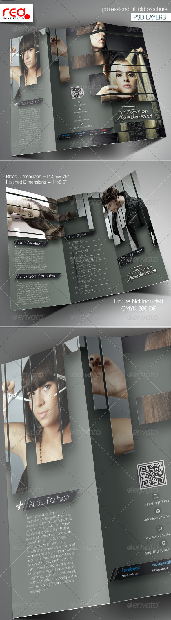 GraphicRiver Hairdresser Salon Trifold Brochure Template 6642783