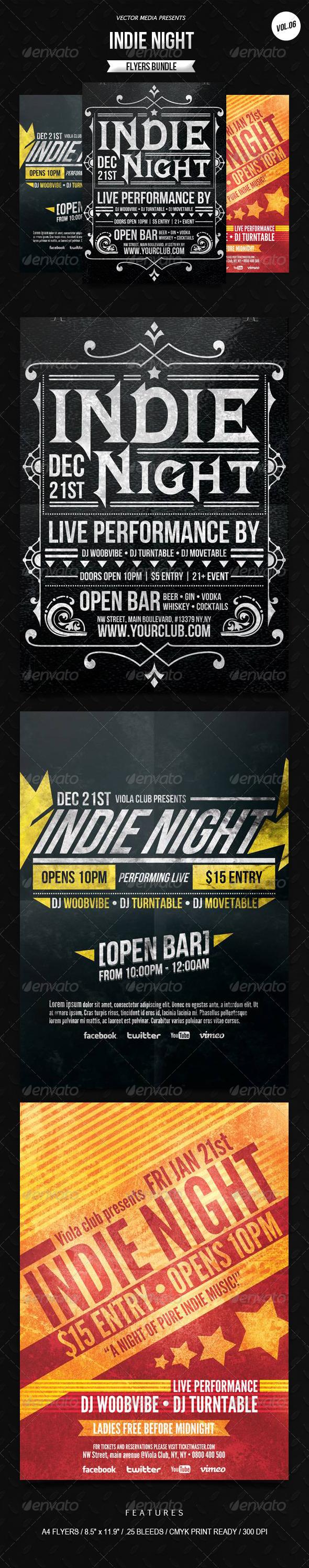 GraphicRiver Indie Night Flyers Bundle [Vol.6] 6651262