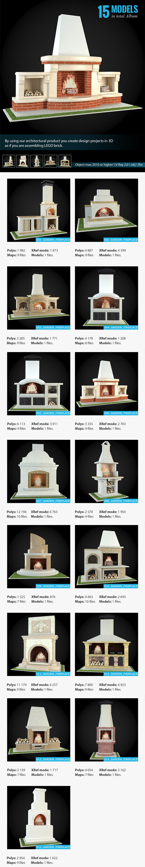 Garden Fireplaces Collection - 3DOcean Item for Sale