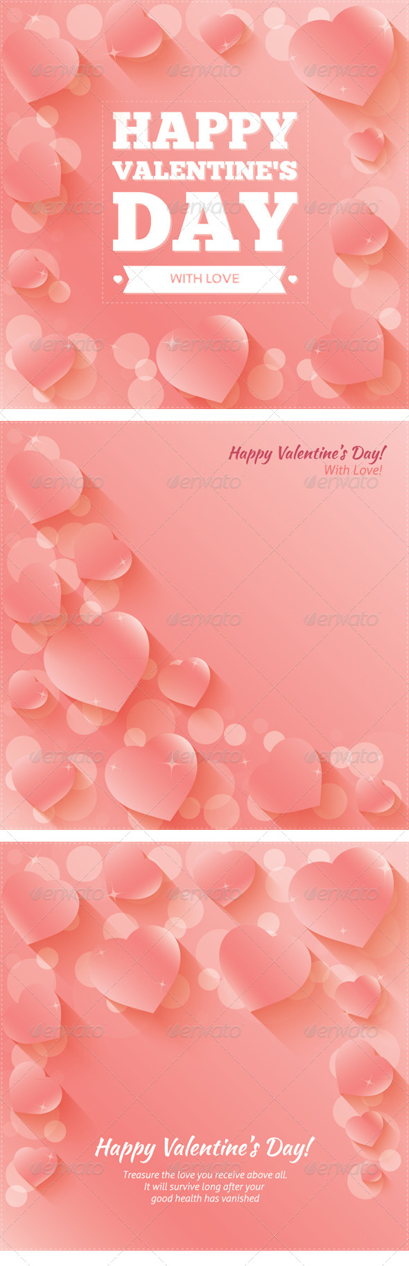 GraphicRiver Valentine s Day Cards Backgrounds with Hearts 6651781