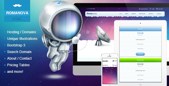 ThemeForest Romanova Web Hosting Company Responsive Template 6540093